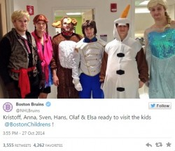 Beyond Delightful: Boston Bruins Dress as Frozen Characters for Sick Kids